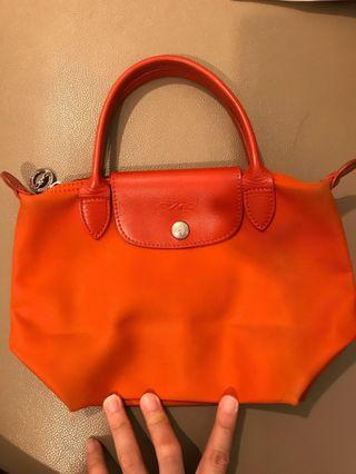 Longchamp 加厚版 橙色 Orange Extra Thick Canvas Tote Bag