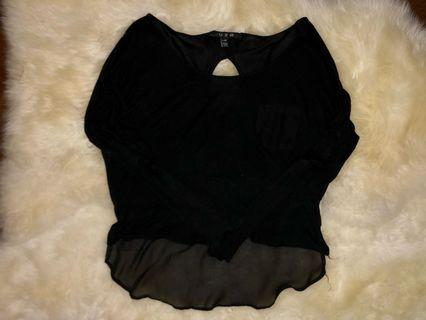 Black shirt with cut out back and mesh detail