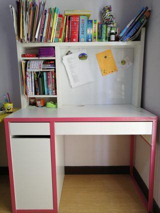 IKEA table and bookshelf