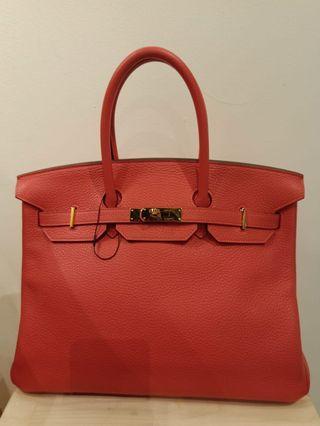 🚚 * reduced* gorgeous full set Hermes Birkin 35 rouge pivoine