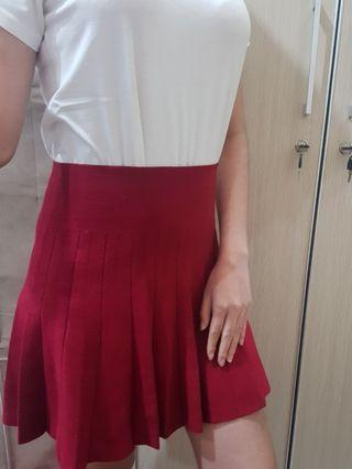 Red skirt/miniskirt/skirt/rok