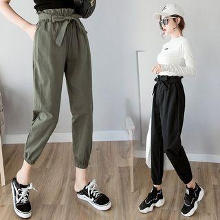 [INSTOCK] BLACK Waist Tie Cuffed Korean Trousers Pants