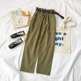 [INSTOCK] Army Green Paperbag Pockets Belt Culottes Pants Trousers