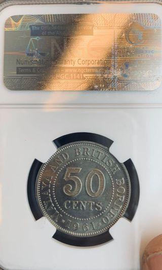 Malaya NGCMS65 1961 50 Cents