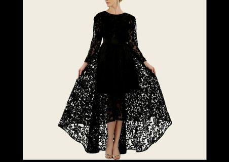 Black lace long dress long sleeve dress