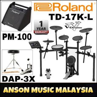 Roland TD-17K-L V-Drums w/Roland PM-100 Personal Monitor & Roland DAP-3X V-Drums Accessory Package