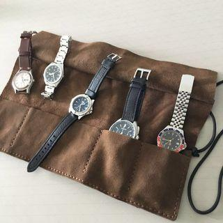 Genuine Leather Watch Roll 5-Slots Handmade