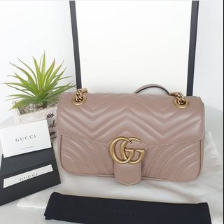 87b8e201895f 100% Original Gucci Marmont Matelassé Small Shoulder Bag in Nude