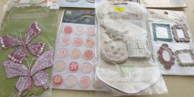 Scrapbooking materials, stickers,  embellishments