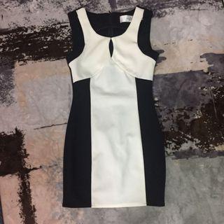🚚 歐美黑白撞色維修貼身緊身洋裝