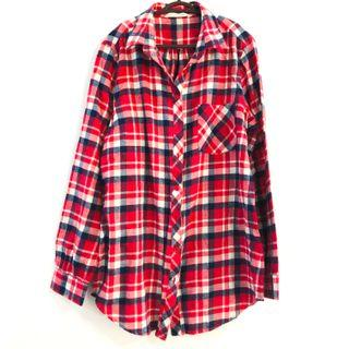 Boyfriend Checkered Plaid Flannel Shirt