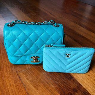 🌈Perfect Chanel Turquoise Mini and OCase🌈