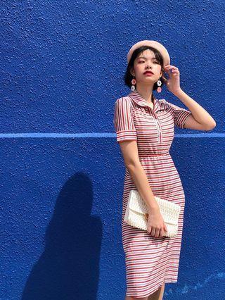 Vintage 1970s red grey white stripe day  dress XS to S