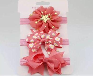 Instock - 3pc red assorted headband, baby infant toddler girl