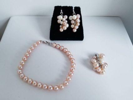 Real Pearl Pink Color Jewellery Set - Bracelet + Pendant + Earrings (3pcs Set)