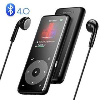 AGPTEK Bluetooth 4.0 MP3 Player Built-in Speaker A16 Lossless Sound MP3 Music Player 8GB Metallic Body 1.8in TFT Color Screen Touch Button with Headphones, Support up to 128GB, Black,New