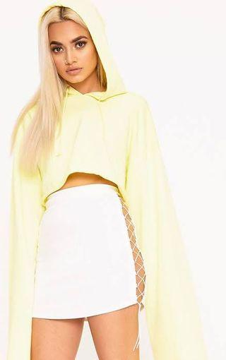white lace up skirt