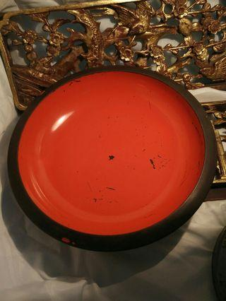 Japanese lacquer shallow bowl.