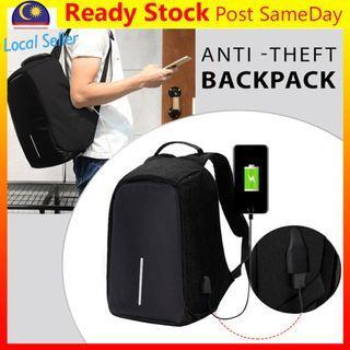 Anti Theft Backpack USB Charge Laptop Travel School Bag Beg Black