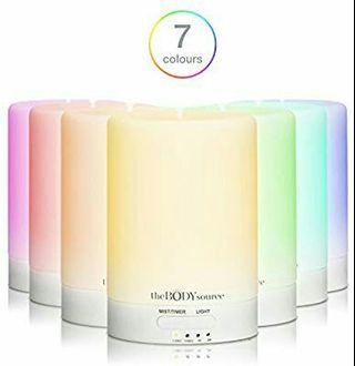 The Body Source Ultrasonic Aroma Diffuser and Humidifier with 7 Colour Changing LED Lights. Aromatherapy Mist for Home, Office and Spa