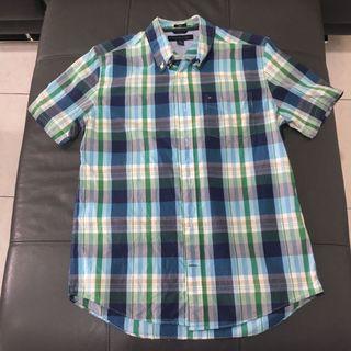 🚚 Tommy Hilfiger 短袖藍綠格紋襯衫(M號)