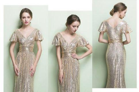 671b68252e0 Chic short sleeve champagne dinner prom lunch wedding Long dress