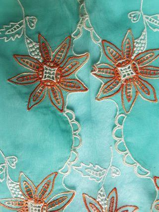 100% made in Singapore! Rare! Only 1 of its kind.  Vintage Nonya Kebaya Top made of sheer mint green voile embellished with embroidered blooms