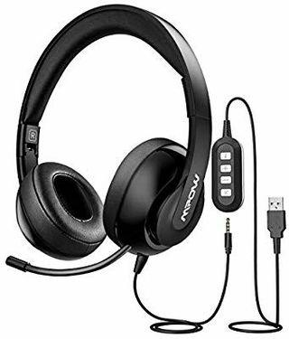 🚚 Mpow 224 USB Headset/ 3.5mm Computer Headset, Noise Cancelling Headset with Retractable Microphone, Foldable PC Headphones for Skype, Webinar, Phone, Call Center