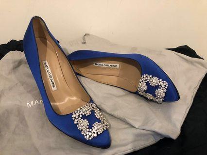 Manolo Blahnik Hangisi Shoes (Royal Blue 105mm) sz 38