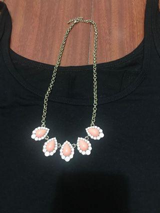 氣質粉珊瑚橘 粉紅項鍊