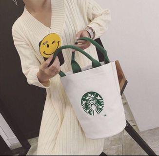 日本限定starbucks 星巴克圓筒包  手提袋 帆布袋 購物袋 便當袋  包包 (白)現貨