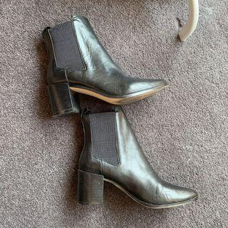 (AU 5)A&H Briana Leather Ankle Boots pointed toe