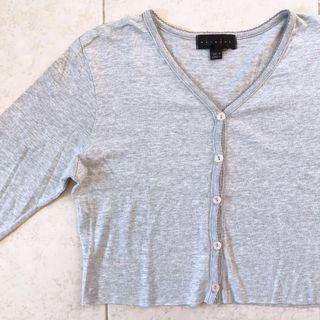 Trim Scallop Detail Grey Long Sleeve Button Down V Neck Crop Top