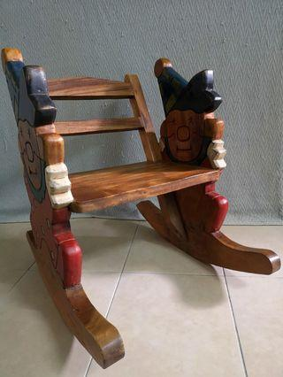 Vintage Handmade Carved Solid Wood Baby Clown Rocking Chair