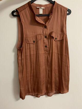 Sleeveless Brown Top Earth Brown Red