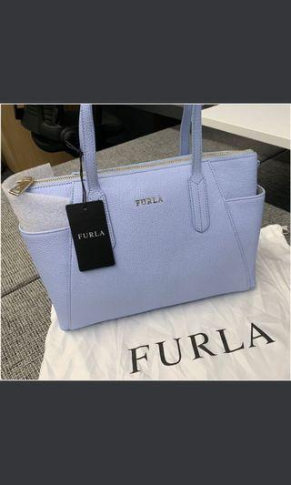全新正品💋 Furla 袋 粉藍拉鍊leather light blue tote Bag OL返工袋 handbag 聖誕禮物 xmas tory Burch
