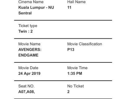 Avengers Endgame (couple seat)24th April 1.35pm