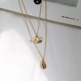 貝殼珍珠雙條項鍊
