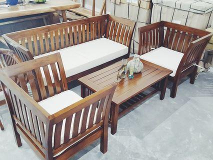 🚚 Wooden Sofa Set Solid Teak Wood Sofa Set 3 Seater Sofa Set
