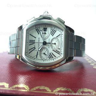 二手 #Cartier #W6206019 鋼 #RoadsterS 銀羅面 自動日曆三盤計時 酒桶型 男裝錶連原裝帶