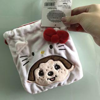 全新 monchhichi monchichi hello kitty 索繩袋