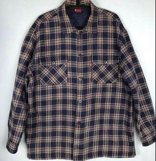 Levi's Flannel Fleece Lined Plaid Button Up Red Tab