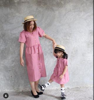 Mom and daughter couple dress - dusty pink