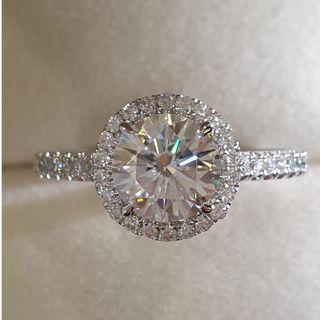 1.5 carat Round Brilliant Cut Halo Moissanite in 18K White Gold