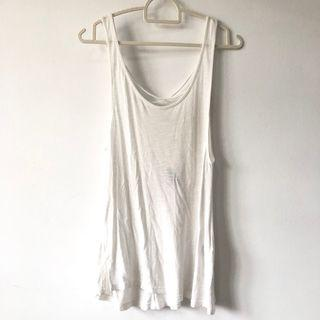 Cross back white sleeveless top