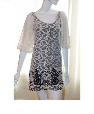 Embroidered Lace Dress Tunic Top