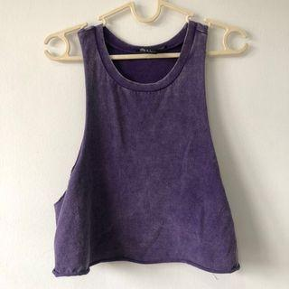 Distressed sleeveless purple crop top