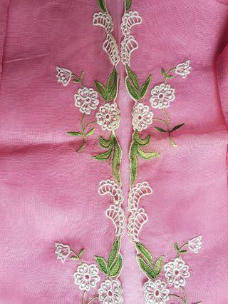 100% made in Sg! Rare! The one and only! Vintage Nonya Kebaya Top made of sheer pink voile  and embellished with manually embroidered small white flowers with light green leaves.