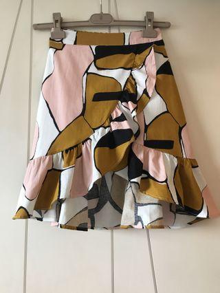 韓版棉麻幾何圖形短裙(有內裡)