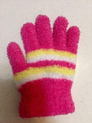 """🚚 5~10歲""""桃色條紋手套""""幾乎全新"""